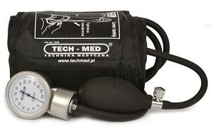 naramienny ciśnieniomierz zegarowy TECH-MED TM-Z, z manualną obsługą pompki oraz stetoskopem